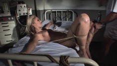 With her amazing body all tied up, Cindee enjoys overwhelming pleasure