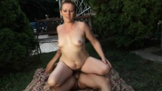 Luscious Mature Farmer Has A Young Boy Banging Her Hairy Twat Outside