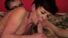 Short Haired Redhead Mommy Enjoys Exciting Sex With A Horny Young Boy