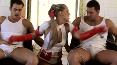 Seductive blonde nurse seizes the chance to get pounded by two studs