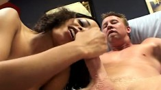 Ethnic beauty with amazing big boobs has a long dick plowing her ass