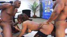 Ebony bombshell Ayana Angel gets DP-ed by hunky Brian and Lexington