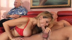 Mrs Richards explores her fantasy with a young guy in front of her man