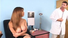 Huge breasted beauty gets her aching peach fucked deep by her doctor