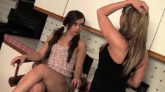 Teen Sophia is taught by Carolyn on the finer points of pussy eating