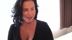 Wild brunette milf with big boobs fucks a younger guy in a hotel room