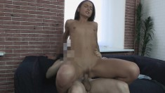 Lusty young brunette is eager to try this fucker's great disco stick
