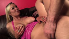 Big-breasted Abbey Brooks gets banged while this horny chick watches