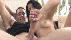 Sexy Aubrey Sky jerks off a big pole and gets her face covered in jizz