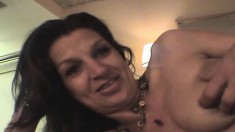 Slutty Christine sucks a thick prick and takes it all in from behind