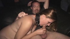 Submissive And Horny Blonde Teen On A Leash Gets Covered In Fresh Cum