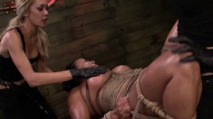 Three ravishing babes get together for an intense bondage experience