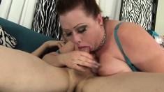 Huge breasted plumper in fishnet stockings sucks and fucks a long rod