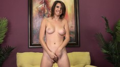 Adorable Girl With Perky Boobs Stuffs Her Aching Pussy With Hard Meat