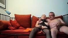 Blonde Tattooed Granny In Stockings