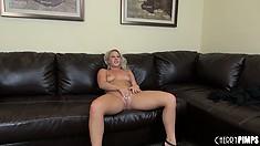Kimmy Olsen reclines before a flood of dicks arrives to ravish her