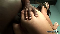 Hot brunette takes his big black cock in her ass, stretching it out