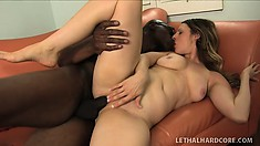 Sexy babe with a lovely ass Christy has a black stud fucking her tight holes deep