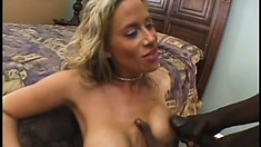 Attractive blonde cougar with big tits finds it difficult to resist a black cock