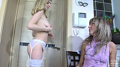 Hot young lesbians in sexy stockings Nora and Paulina please each other's pussies