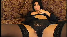 Sensual brunette in sexy lingerie gets nailed rough all over the bed