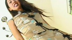 Slim Oriental girl with tiny tits gets her snatch eaten out and fucked