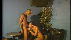 Sexy black studs suck each other's long shafts and then enjoy anal sex