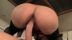 Naughty housewife gets herself a taste of her chef's sausage