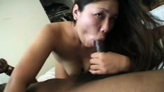 Striking Latina gets her pussy spoon fucked by a black stud on the bed