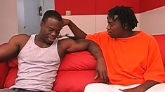 Two muscled black guys go on a blind date and have hot anal sex