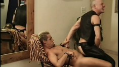 Hot stud in a leather outfit gets his ass fucked rough from behind