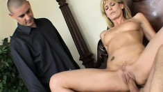 A cheating housewife has her snatch satisfied by a long meaty cock