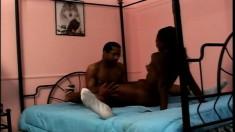 Sweet ebony babe Leilani has a massive black dick stretching her peach