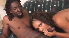 Gorgeous ebony girl with small tits Janet wildly fucks a black shaft