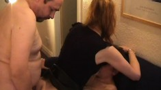 Dirty mature blonde has two guys pounding her holes and she loves it