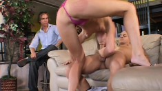Lustful blonde wife gets fucked by a stranger and her husband watches