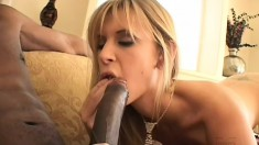 Voluptuous blonde bimbo gets her mouth stuffed with hard black meat