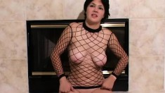 Striking Lucy loves being watched while wearing nothing but a see-through shirt