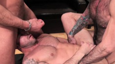 Playful hunks Nick Moretti, Chad Brock and Ben Statham enjoy fucking