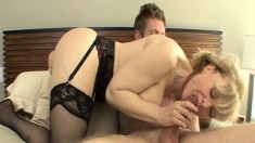 Slutty Blonde Mom In Lingerie Nina Hartley Gets Nailed By A Young Stud