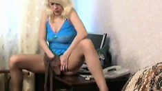 Ksusha plays with her pantyhose in her twat, then puts them back on