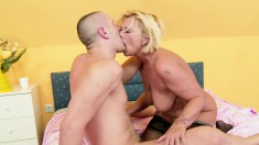 Big breasted blonde mature in black stockings Orchid loves young meat