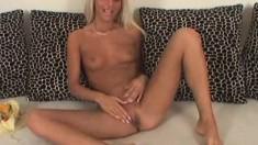 Naughty blonde Jordan knows how to finger her lovely hot slit