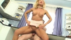 Busty blonde housewife gets her lusty mouth stuffed with a fat cock