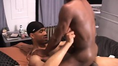 Cock-hungry black stud mounts his friend's turgid fuck stick