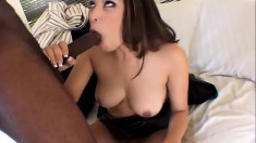 Bodacious Asian chick has a huge black stick making her pussy all wet