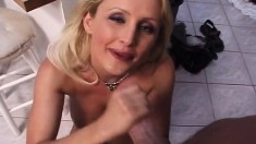 Busty blonde MILF Zora cooks in the kitchen with her mouth and twat
