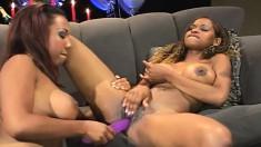 Lucky stud watches two dark skinned beauties enjoying hot lesbian love