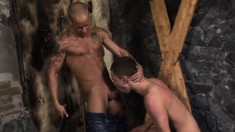 Submissive boy has a hung stud with a ripped body hammering his butt