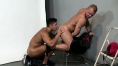 Two muscular hunks lick and fuck each other's asses in wild gay anal sex